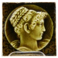 "Providential Tile Works 4.25"" Tile 'Portrait Of A Lady' Trenton, New Jersey in Rich Green Glaze"