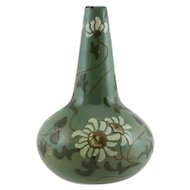 "Vance Avon Rhead Faience 6.25"" Bulb Vase with Squeezebag-Decorated Daisies Motif"