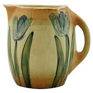 "Roseville 'Tulips' 7.25"" Early Pitcher Pre-1916 Early Pitcher Line In Amber/Blue"