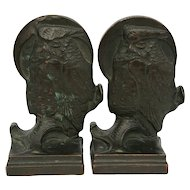"Galvano Bronze 7"" x 4.5"" 'Owl & Moon' Bookends 4.25 Lbs c1920 Great Patina!"