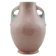 "Roseville Tuscany 10.5"" Vase In Pink Mottled Frost with Classic Leaf/Grape Motif Mint"