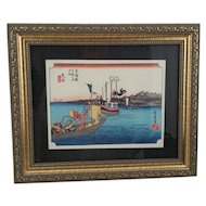 "Utagawa Hiroshige (1797 - 1858) Framed Japanese Woodblock print 'Ferryboats at Arai' from 'Famous Sights of 53 Stations of Tokaido' 10"" x 12"" (6"" x 8"") c1920 Chuban Size"