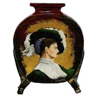"French Faience Pottery 10"" 'Portrait of a Lady' Pillow Vase by Artist E. Landry c1880s"