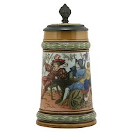 "Mettlach 7.25"" Stein Dated 1890 ""Men Drinking"" By Christian Warth 1/2 Liter #1527 Inlaid Lid"