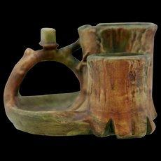 "Weller Woodcraft 5"" x 8"" Tree Trunk Smokestand Match/Cigarette/Pipe Holders Mint"