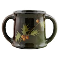 "Weller Louwelsa 4.75"" x 6.5"" 2-Handled Vase With Holly Leaves/Berries Standard Glaze"