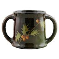 "Weller Louwelsa 4.75"" x 6.5"" 2-Handled Vase With Holly Leaves/Berries Standard Glaze"