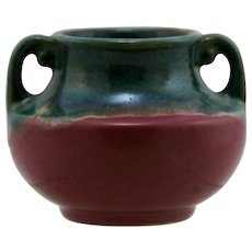 "Fulper 3.25"" x 4"" Cabinet Urn/Vase 'Green over Rose' Glaze c1928 Mint F8"