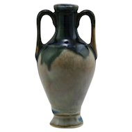 "French Miniature Urn/Pitcher 4"" x 2"" In Stormy Blue Over Oyster Drip Glazes FR56"