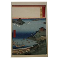 Utagawa (Ando) Hiroshige (1797-1858) 'Shima Province: Mount Hiyori and Toba Harbor' Series 'Famous Views of the Sixty-Odd Provinces, No. 8