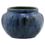 "Pierrefonds French Miniature 3"" x 4"" Rose Bowl In Vivid Blue & Charcoal Glazes PF157"