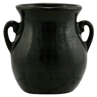 "Fulper 3.5"" x 3.25"" Cabinet Vase 1928 In Rich Black Glaze Mint F54"