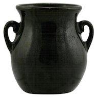 "Fulper 3.5"" x 3.25"" Cabinet Vase 1928 In Rich Black Glaze Mint F54"