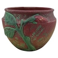 "Weller Malverne 5.5"" x 7"" Jardiniere In Unusual Red/Yellow/Green Glazes Mint"