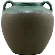 "Fulper 7"" Vase With Handles c1917-1923 in Green on Green Drip Glazes Mint F16"