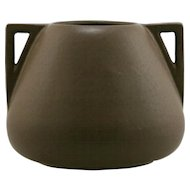 "Fulper 6.5"" x 8.25"" x 8.5"" Arts & Crafts Urn/Vase In Rich Matte Brown Glaze F295"