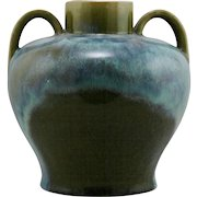 "Fulper 8"" Handled Vase In Sycamore Green Glaze With White Flambe c1917-1923 Paper Label F245"