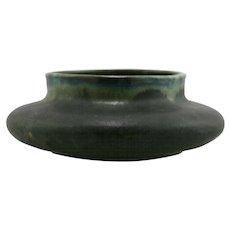 """Fulper 3.5"""" x 10"""" Squat Urn/Vase In Blue/Green Flambe/Green Matte Glazes Mint F105"""