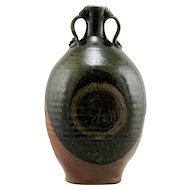 "Walt Schmidt Asian-Inspired 11.5"" Stoneware Bottle Vase Indiana Potter Mint C693"