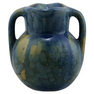 "Pierrefonds French Double-Spout Pitcher 3.25"" x 3"" In Drippy Blue Over Yellow Crystalline Glazes FR140"
