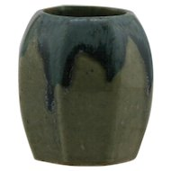 "Denbac French Pottery Miniature Octagonal Urn/Vase 2.5"" x 2.25"" In Blue Over Oatmeal/Gray Drip Glazes Mint D113"