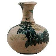 "Raku Ceramics 5"" Vase in Stormy Glazes Signed by Austin Mint C179"