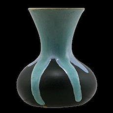 "Weller Pottery 5"" Trial Vase in Blue/Aqua Over Black Drip Glaze Mint W350"