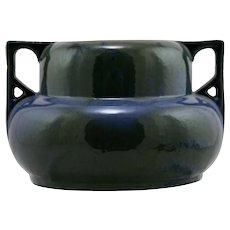 """Fulper 6"""" x 10"""" Handled Urn/Vase in Blue/Green Flambe Glaze Mint F356"""