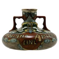 "Holland America Line 3.5"" x 5"" Urn/Vase c1905 By Jan Willem Mijnlieff  Utrecht Holland Mint"
