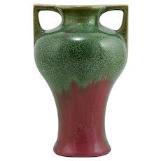 "Fulper 8"" Arts & Crafts Vase 1917-1934 In Green Stipple Over Rose Drip Glazes Mint"