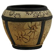 "Weller Claywood 3.75"" Cabinet Vase With Sweet Blossoms In Brown/Beige Bisque Glazes Mint"
