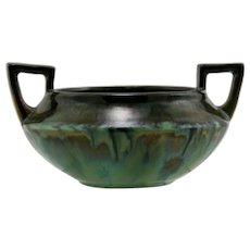 "Fulper 3.5"" x 7"" High Handled Bowl #73 C1909-1917 In Green/Blue/Charcoal Mint"