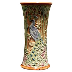 "Weller Selma 9"" Carved Peacocks & Rose Garden Vase In Rich Glossy Colors"