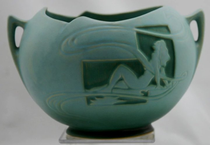 Roseville Silhouette Nude 6 Ball Vase 742 6 In Rich Turquoise Glaze