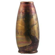 "Weller Lasa 11.5"" Vase W/Stylized Maple Tree Iridized Glazes 'Weller Lasa' Mint"