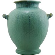 "Fulper 12.5"" x 11.5"" Hammered Vase c1928 No.490 In Green/Blue Threaded Glazes Factory Mint F680"