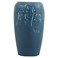 "Rookwood Production 6.5"" Vase 1926 With Berries/Leaves Motif Lush Blue Glazes Mint"