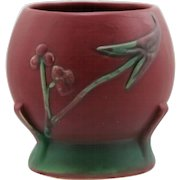 "Weller Tutone 4.75"" Art Deco Buttressed Vase W/Arrowhead Leaves/Blossoms Mint"