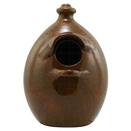 "Jugtown 8.75"" x 6"" Birdhouse In Organic & Rustic Orange/Brown Flecked Glazes"