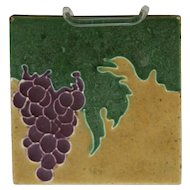 "J.B. Owens 6"" Tile Vineyard Motif/Grapes Great Color Marked 'Owens Zanesville' O190"