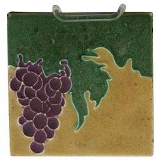 "J.B. Owens 6"" Tile Vineyard Motif/Grapes Great Color Marked 'Owens Zanesville' O190"