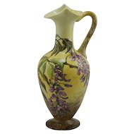 Jersey City Pottery Stunning Ewer With Wisteria Blossoms Signed W.B. d1884