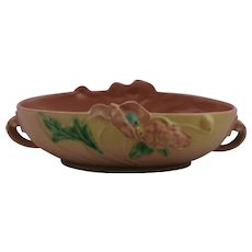 """Roseville Poppy 4"""" x 12"""" Center Console Bowl Blushed Pink/Yellow Glazes 338-10"""