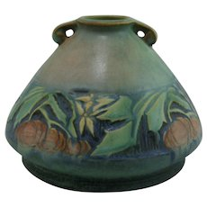 Roseville Baneda Vase Pumpkin Fruit In Fabulous Green Frosted Glaze 603-4
