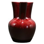 Rookwood Production Vase With Pleated/Lobed Rim In Oxblood Glaze d1949