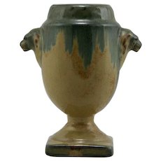 "Fulper 6.25"" Lions' Heads Vase In Blue Over Peach Glazes d1929-1934 Factory Mint F173"