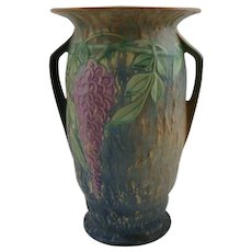 "Roseville Wisteria 12.5"" Vase In Rich Lush Blue Glaze Fabulous Mold 640-12895"