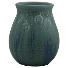 "Rookwood Production 4.5"" x 3.75"" Vase Berries & Leaves Design 1925 in Blue/Aqua Speckled Glazes Mint"