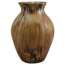 "Mountainside Pottery 10.5"" Vase In Caramelized Golden/Brown Flowing Glaze Mint"