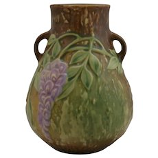 "Roseville Wisteria 6"" Vase In Golden Amber Glaze Beautiful Teardrop Form 631-6"